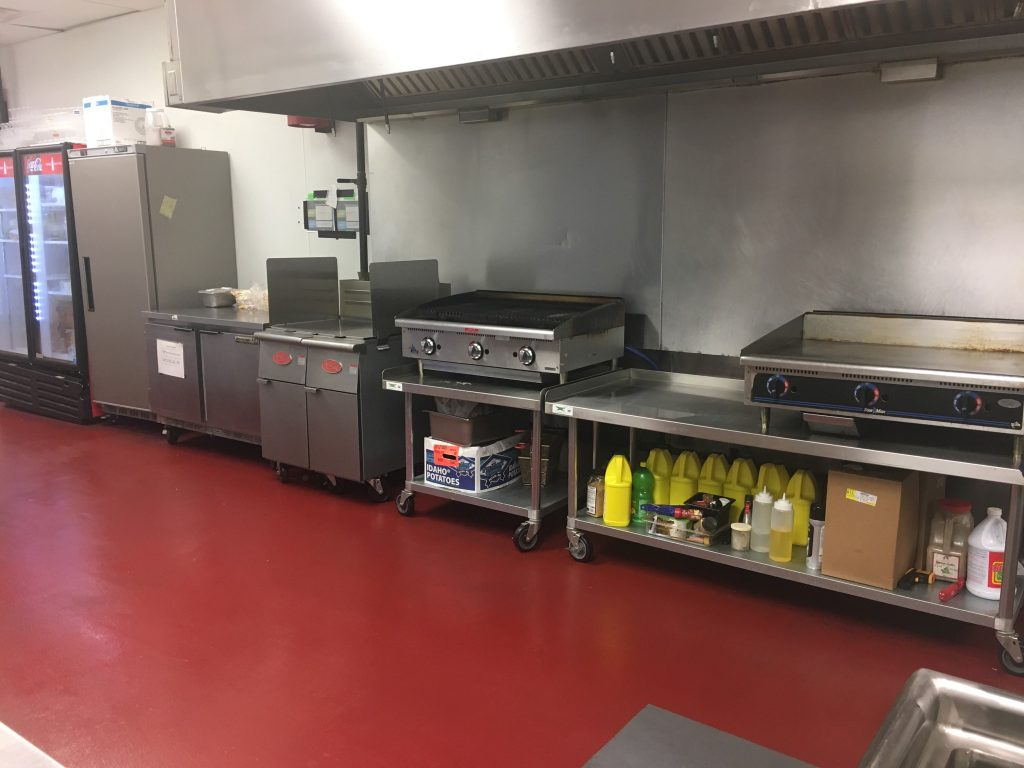 """Two 40lb fryers, 36"""" chargrill, 36"""" flat top, 4-burner range, full size convection oven"""